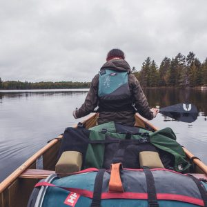 Canoe is Fully Packed on top of little crab lake.