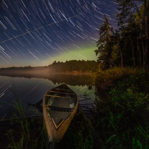Long Exposure photography of the North Star. With a Canoe made by Northstar Canoes.